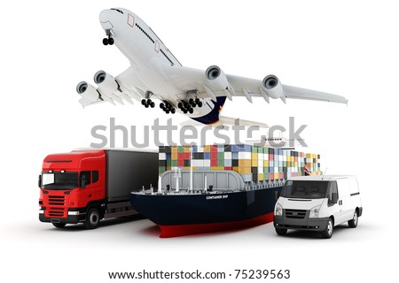 3d world wide cargo transport concept