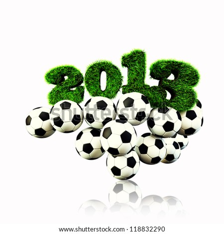 3D 2013 year render grass textured Title & footballs with white isoleted  background new sport year Football, Soccer season - stock photo