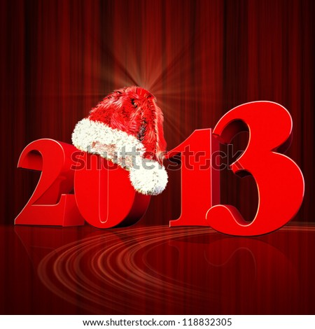 3D 2013 year render red  Title and Santa Hat  with dark red background