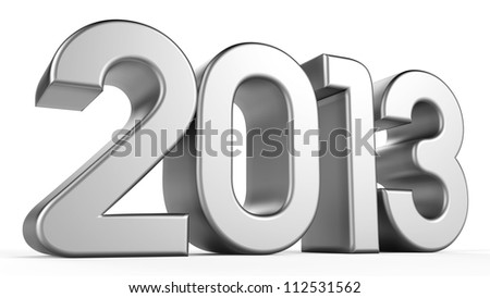 3D 2013 year silver text