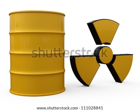 3D yellow barrels with sign of radiation isolated on white background