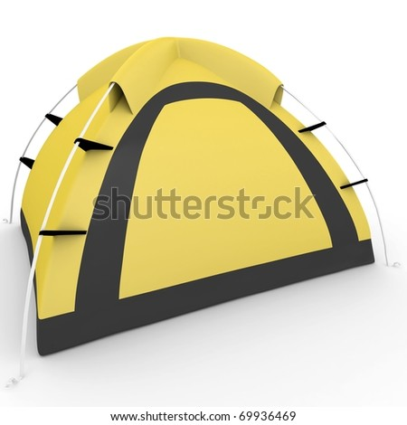 3d yellow camping tent isolated on white