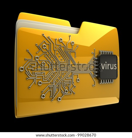 3D Yellow folder Computer microchip isolated on black background High resolution
