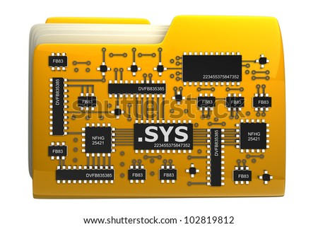 3D Yellow folder Computer microchip isolated on white background High resolution
