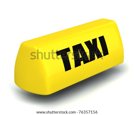 3d yellow model of the taxi symbol