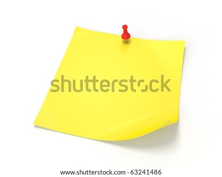 3D yellow note paper isolated on white background