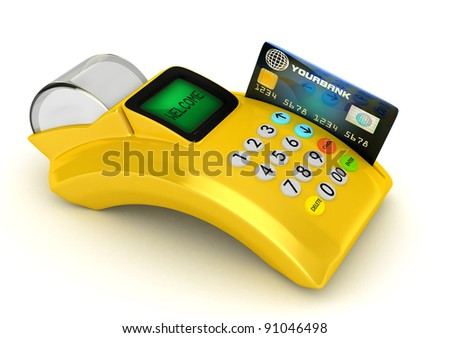 3D  Yellow POS-terminal with credit card