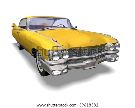 3D yellow retro automobile white background