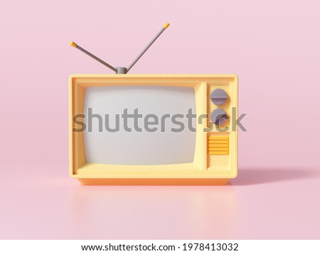 3D Yellow Retro Old Television on pink background, Vintage analog TV with copy space. 3d render illustration. Stock fotó ©