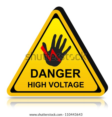 3d Yellow Triangle Danger High Voltage Sign Isolated on White Background