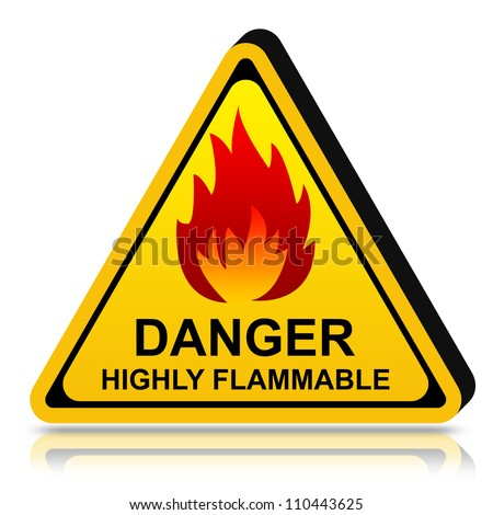 3d Yellow Triangle Danger LPG Highly Flammable Sign Isolated on White Background