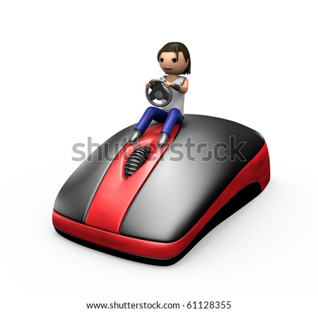 3d Young Male Driving a PC Mouse like a Car