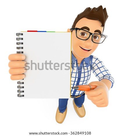 3d young people. Student with a blank notepad and a pen. Isolated white background.