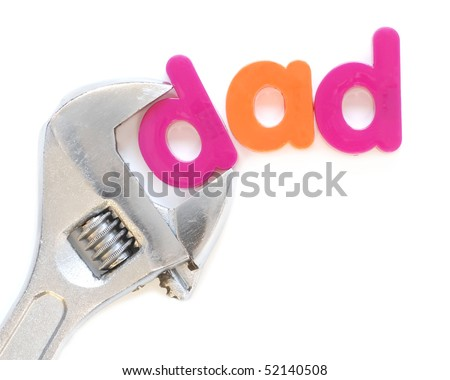 """dad"" with adjustable wrench - for the Father's Day handyman dad"