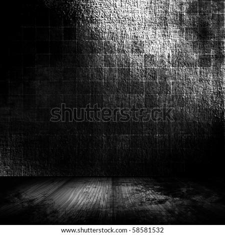 Dark Grunge Room - stock photo