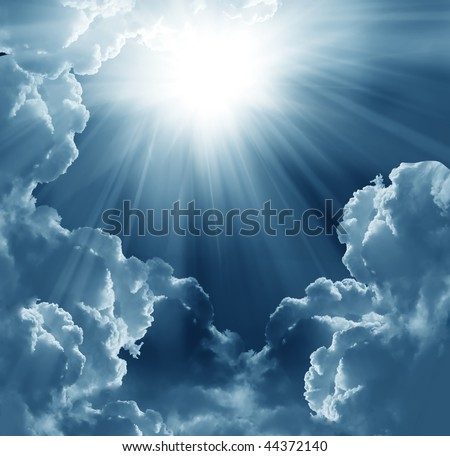 dark sky with sun - stock photo