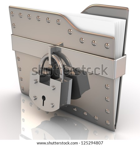 Data security concept. 3D file and lock.
