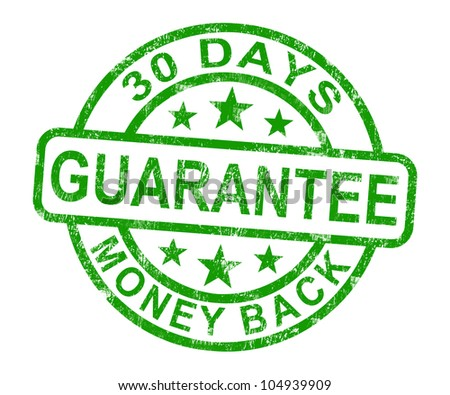 30 Days Money Back Guarantee Rubber Stamp - stock photo