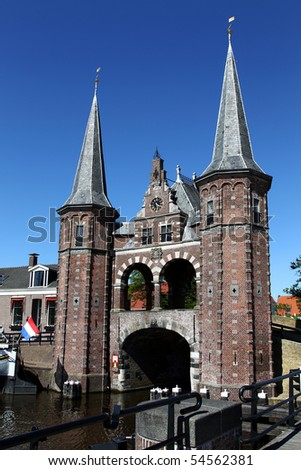 """De Sneker waterpoort"" an old water gate in Sneek (Holland) built in 1492"