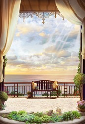 Dea view and sunrise from an open window. Digital collage , mural and fresco. Wallpaper. Poster design. Modular panno.