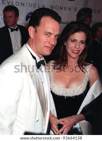 03DEC97:  Actor TOM HANKS & actress wife RITA WILSON at the Fire & Ice Ball at Paramount Studios, Hollywood, to benefit the Revlon/UCLA Women's Cancer Research Program.