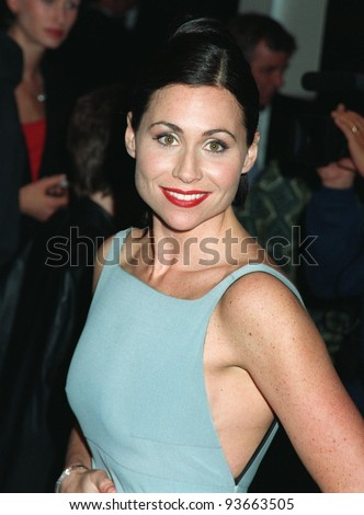 "02DEC97:  Actress MINNIE DRIVER at the premiere of her new movie, ""Good Will Hunting,"" in which she stars with Robin Williams, Matt Damon & Ben Affleck."