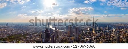16 December 2018, Bangkok Thailand. On the highest building of Thailand of Mahanakorn Building at skywalk with high building and cityscape of Bangkok Thailand. Panorama of metropolis photo #1270696360