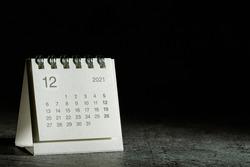 2021 December calendar on black background