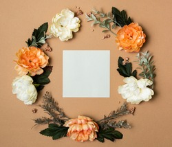 Decor Craft Paper Background  Frame Card Board For Text Flowers with branches and leaf orange white green seasonal in circle logo