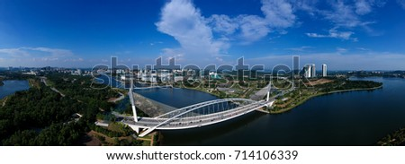 180 degree Aerial Panorama view of Outskirt Putrajaya City from Cyberjaya #714106339