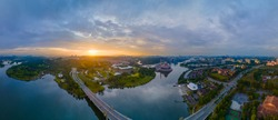 180 degree Aerial Panorama view of Putrajaya City