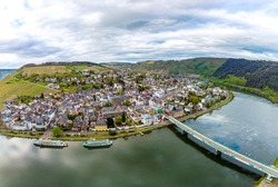360 degree aerial Panorama view on Traben-Trarbach. Beautiful historical town on the loop of romantic Moselle, Mosel  river. Rhineland-Palatinate, Germany, between Trier and Koblenz