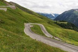 180 degree curve on the Grossglockner High Alpine Road. Austria