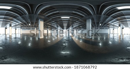 360 degree equi rectangular panorama of industry hall big office buildung room 3d render, illustration