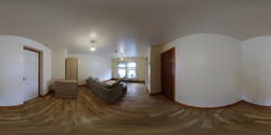 360 Degree full sphere panoramic photo of a modern interior living room, showing a sofa and dining table in the small apartment