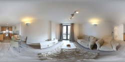 360 Degree full sphere panoramic photo of a modern newly built house interior living room with sofa, coffee table, dining table and fluffy rug
