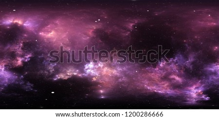 360 degree interstellar cloud of dust and gas. Space background with nebula and stars. Glowing nebula, equirectangular projection, environment map. HDRI spherical panorama. 3d illustration
