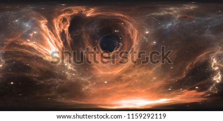 360 degree massive black hole panorama, equirectangular projection, environment map. HDRI spherical panorama. Space background with black hole and stars. 3d illustration