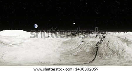 360 degree Moon landscape, equirectangular projection, environment map. HDRI spherical panorama. Space background. 3d illustration
