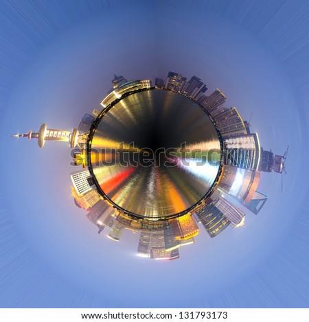 360-degree panorama of the round of the Shanghai skyline 2013