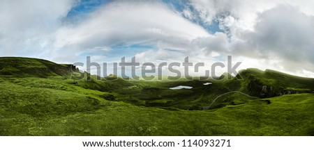 180 degree panorama shot of the scottish highlands
