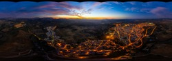 360 degree panorama WITHOUT SKY, aerial view of the night city of Ronda