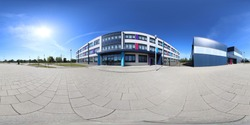 360 degree panoramic sphere photo of the Whitcliffe Mount Primary School showing the entrance to the British school on a sunny summers day