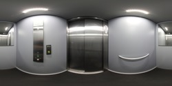 360 Degree panoramic sphere photo taken inside a metal elevator lift in the UK showing the closed metal doors with a large mirror on the back wall