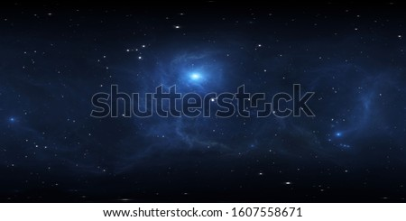 360 degree space background with blue nebula and stars, equirectangular projection, environment map. HDRI spherical panorama. 3d illustration
