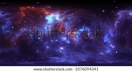 360 degree space nebula panorama, equirectangular projection, environment map. HDRI spherical panorama. Space background with nebula and stars. 3d illustration