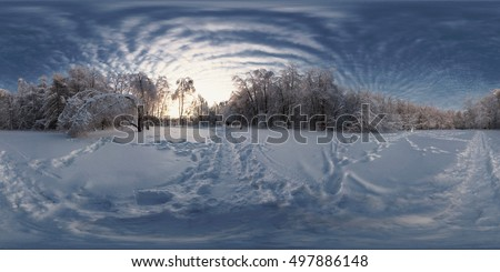 360 degree spherical panorama from Siberia Russian Winter. The picture with the snow, trees in the forest on a frosty sunny day.
