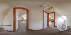 360 Degree spherical panorama sphere photo of a typical British hallway showing the hall entrance to the bedrooms and bathroom