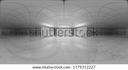 360 degree spherical seamless vr panorama. Abstract empty white interior with three stands installation, HDRI environment map of an exhibition gallery with walls made of concrete. 3d illustration