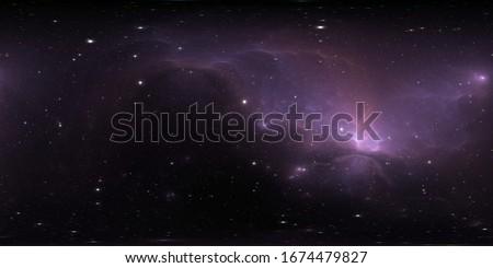 360 degree stellar system and glowing nebula. Panorama, environment 360 HDRI map. Equirectangular projection, spherical panorama. 3d rendering